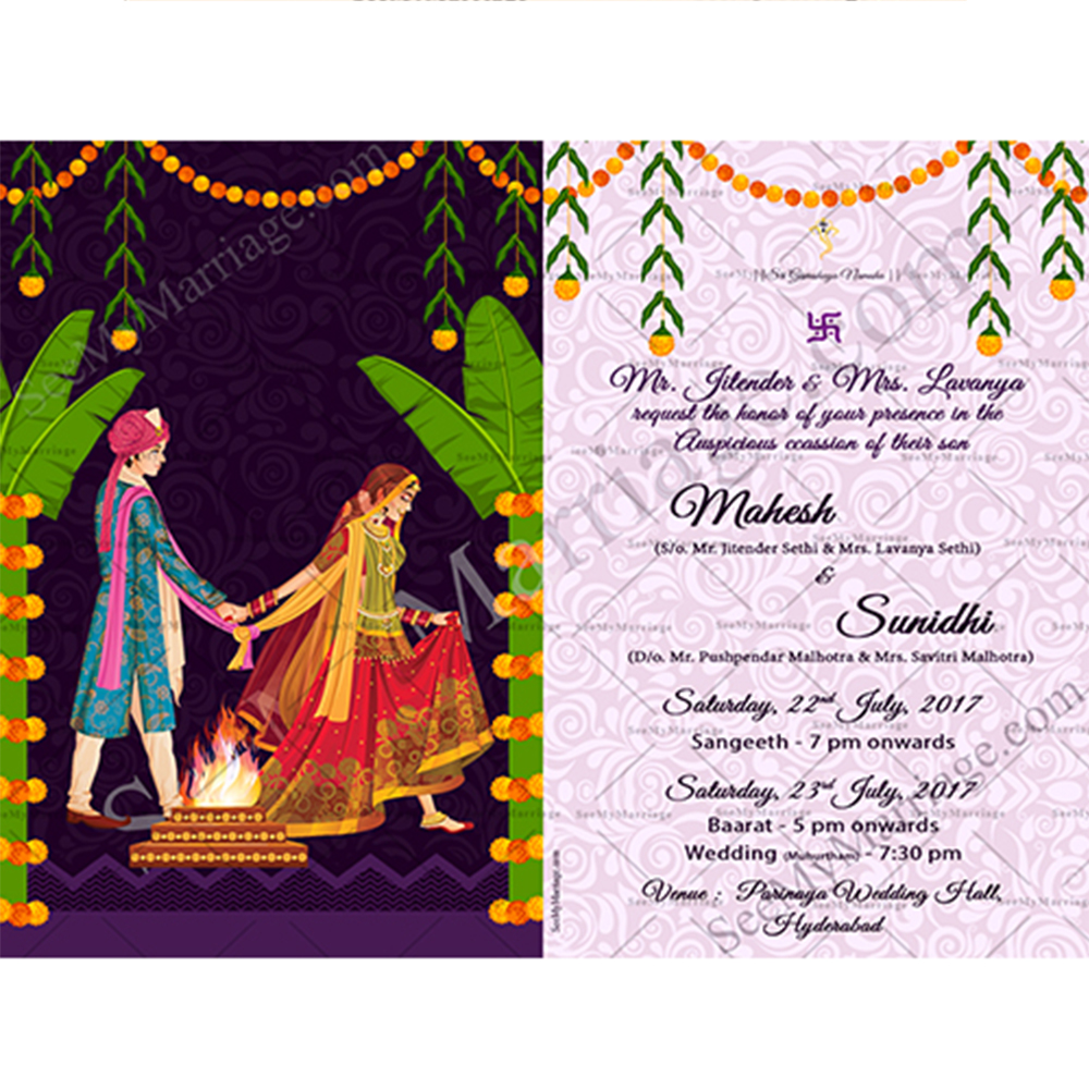 ayushman bhava a north indian style traditional couple wedding save the date invitation whatsapp e card