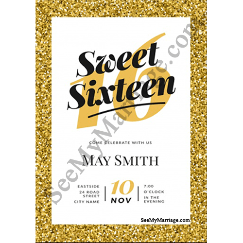 chocklate party sparkled gold theme border with number 16 birthday invite card in white background
