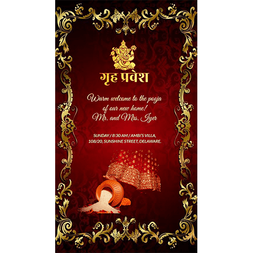 house warming pot rice red theme traditional ganesha card