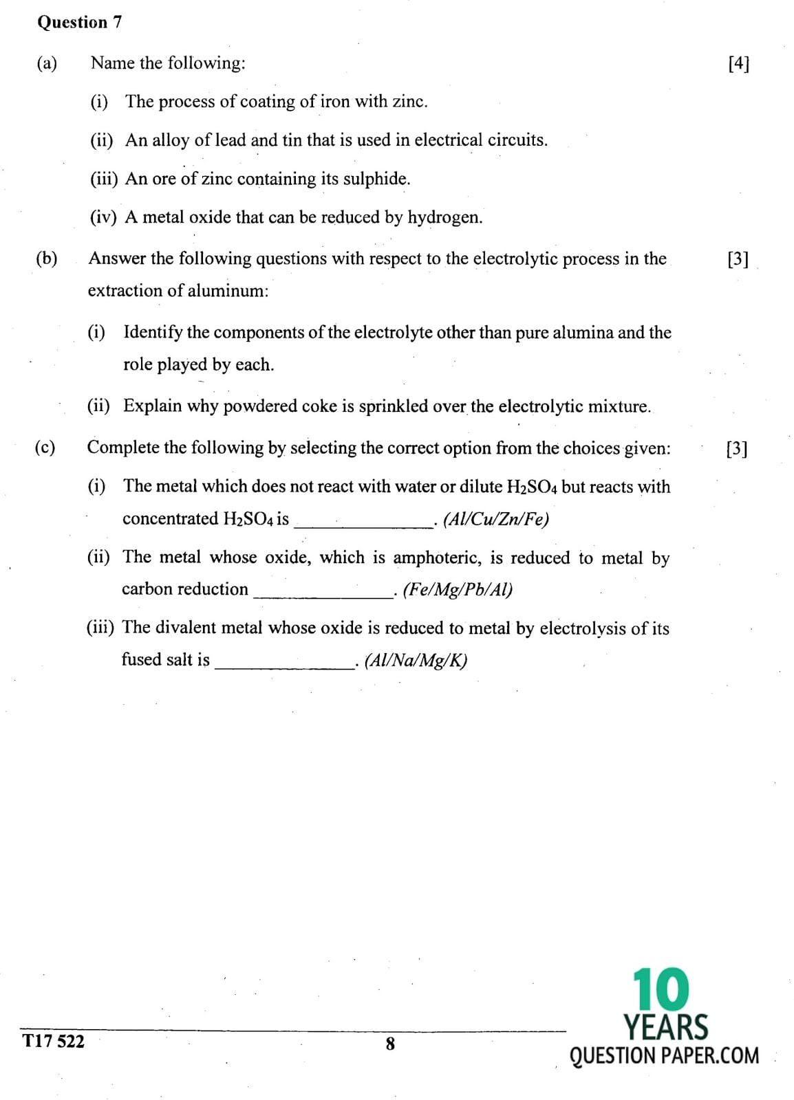 Icse Chemistry Question Paper For Class 10