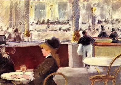 Riproduzione Caffe Alla Piazza Del Teatro di Edouard Manet