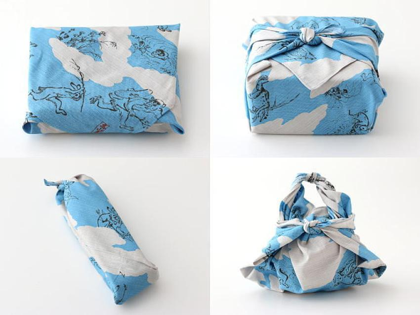 Four different ways to wrap Furoshiki cloth around your gifts.