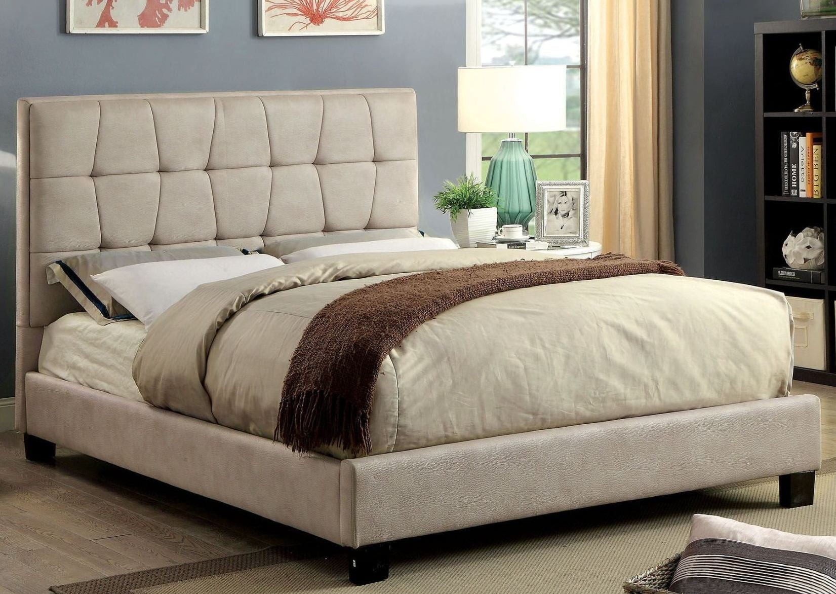 Hyadum Beige Cal King Upholstered Platform Bed