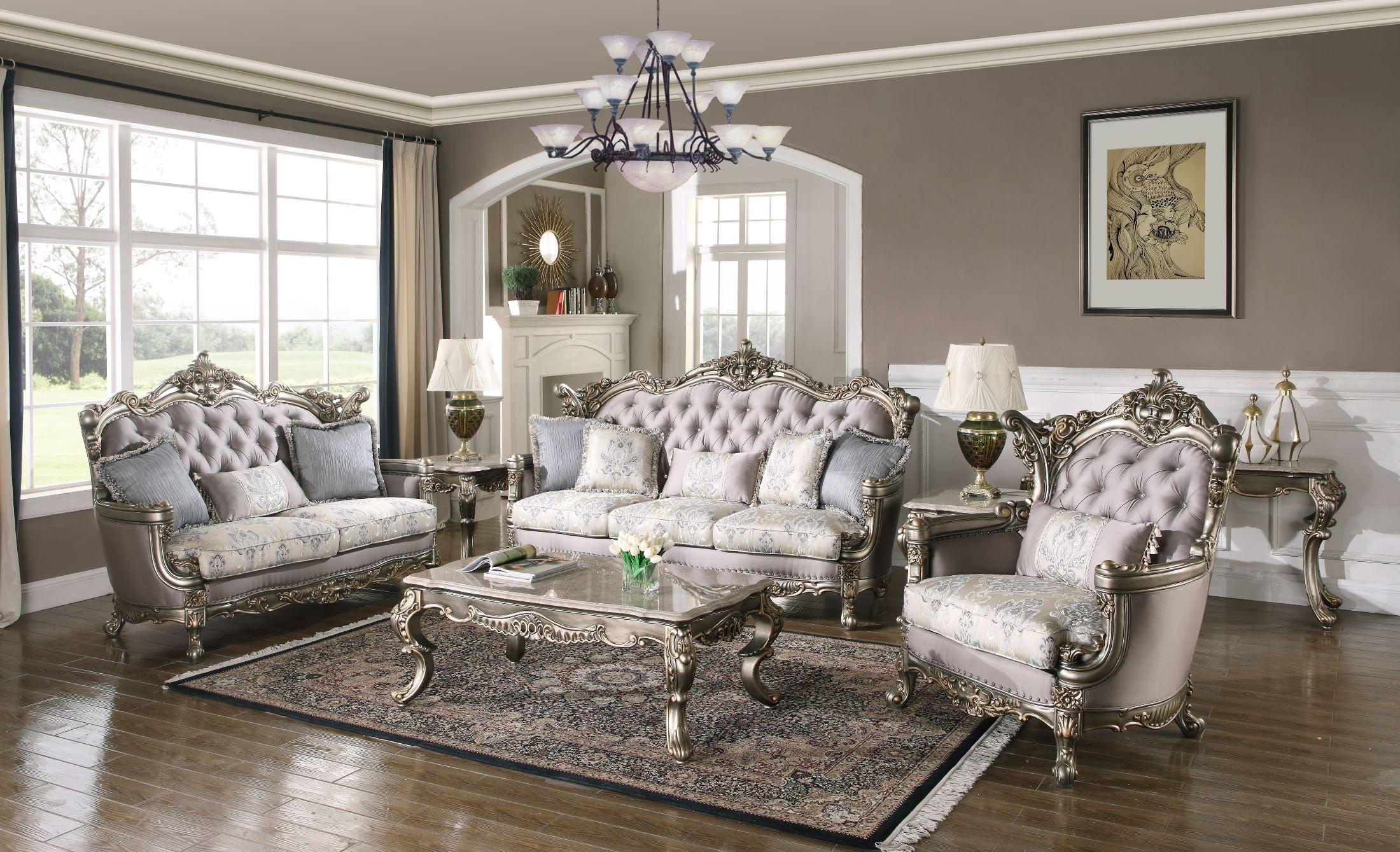Ophelia Antique Gold Living Room Set 1stopbedrooms