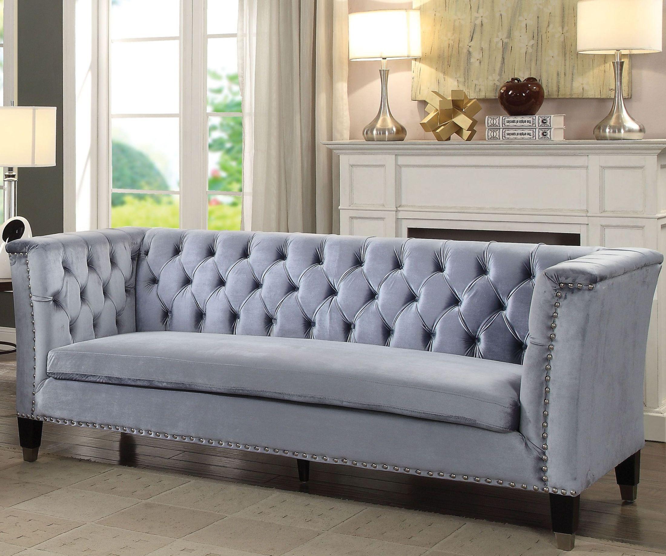 Honor Blue Gray Velvet Sofa 1stopbedrooms