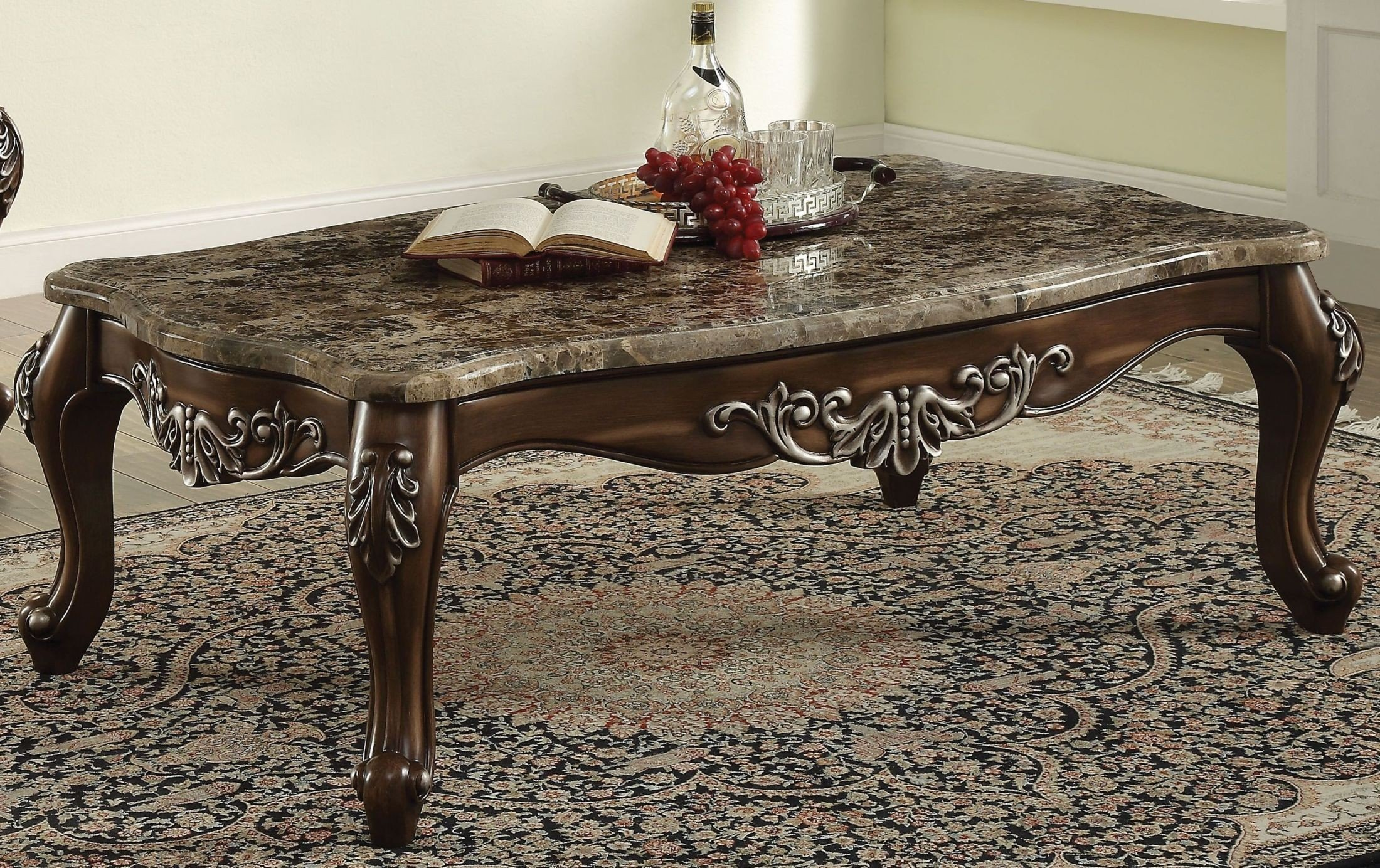 Latisha Marble And Antique Oak Coffee Table 1stopbedrooms