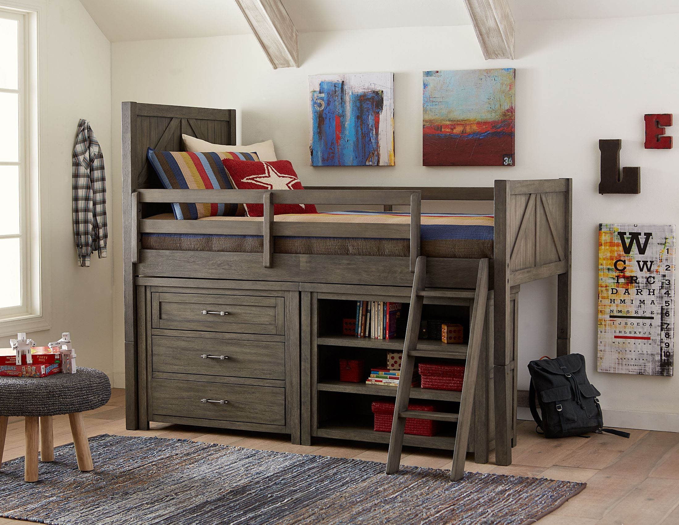 bunkhouse aged barnwood youth mid loft bedroom set with components by legacy classic kids