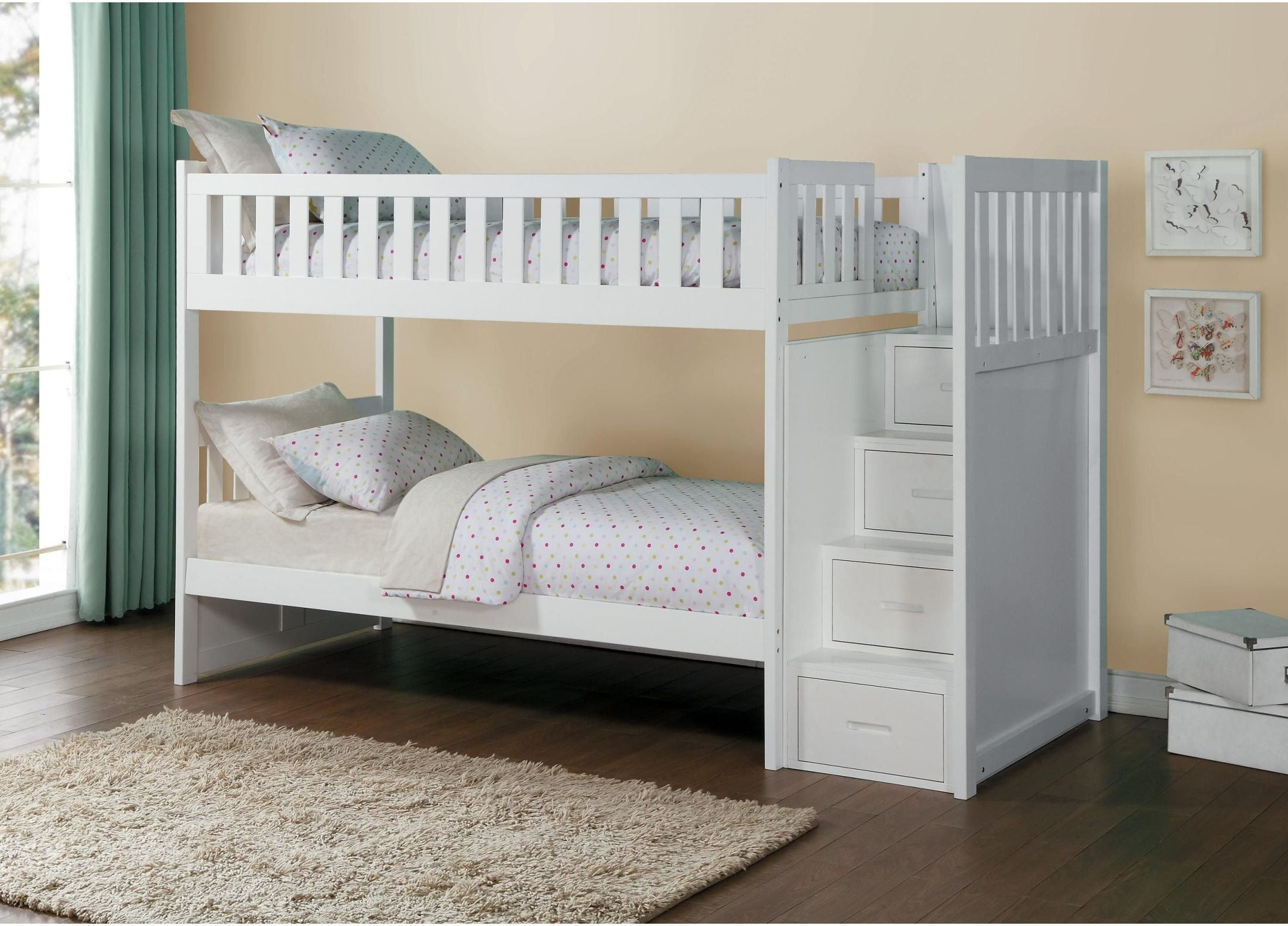 Galen White Twin Over Twin Bunk Bed With Storage Staircase 1stopbedrooms