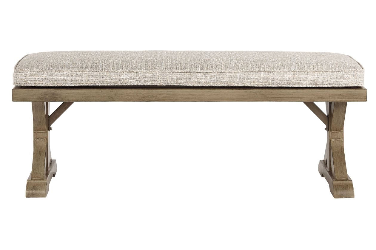 Beachcroft Beige Bench with Cushion - 1StopBedrooms. on Beachcroft Beige Outdoor Living Room Set  id=25355