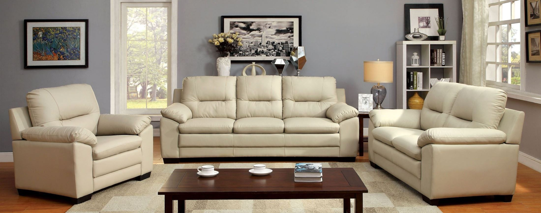 Furniture Of America Parma Ivory Leatherette Living Room