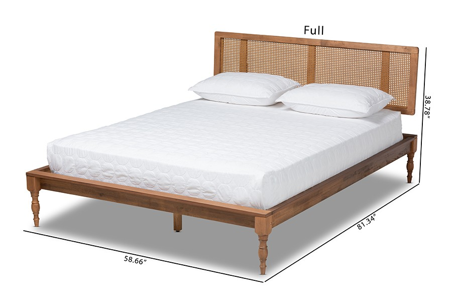 romy vintage french inspired ash wanut finished wood and synthetic rattan queen size platform bed