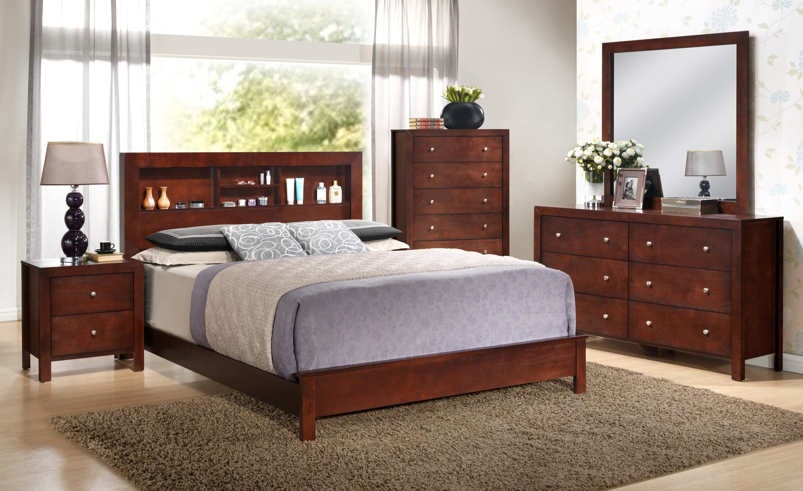 Glory Furniture G2400 King Bookcase Headboard Bed In Cherry G2400b Kb2