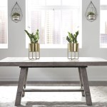 Modern Farmhouse Distressed Dusty Charcoal Extendable Trestle Dining Table 1stopbedrooms
