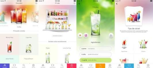 Menú interior de la aplicación Cocktail Flow