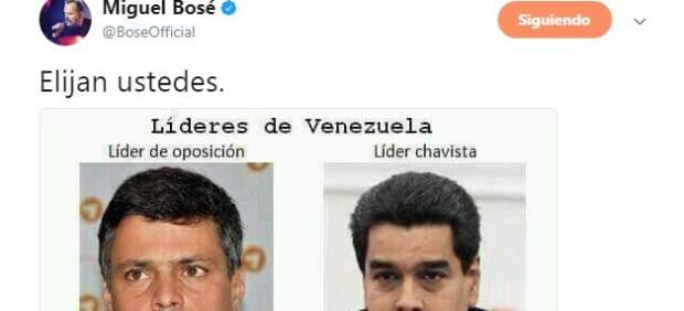Un tuit de Miguel Bosé