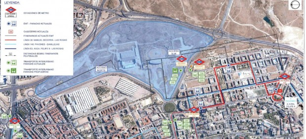 Plano de los accesos en transporte público al Wanda Metropolitano