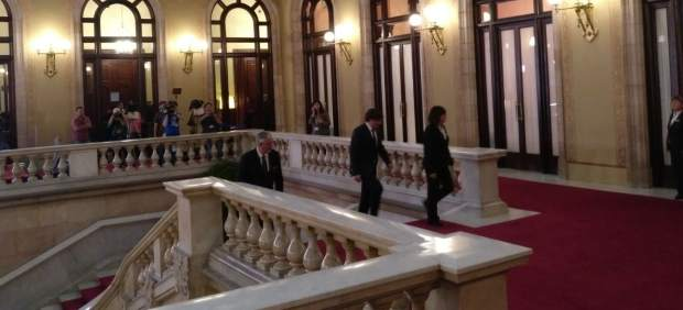 Puigdemont llegando al Parlament.
