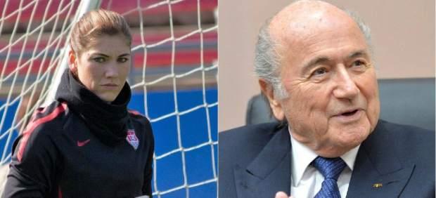 Hope Solo y Sepp Blatter