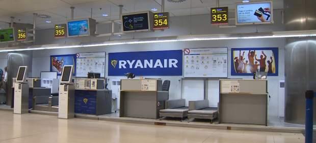 Un mostrado de Ryanair vacío