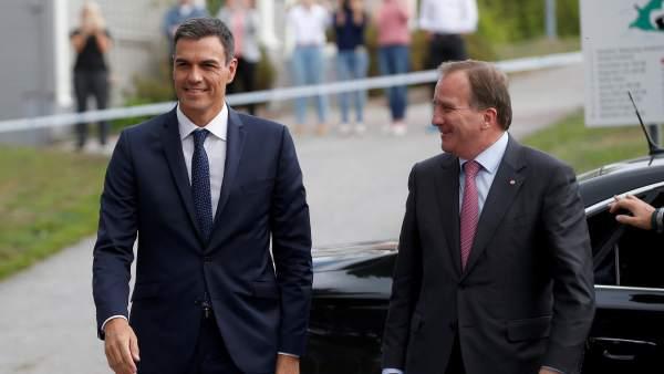 Sánchez, junto a primer ministro de Suecia, Stefan Lofven.