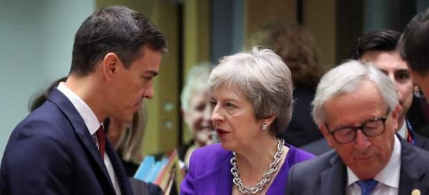Sánchez y May, en el Consejo Europeo.