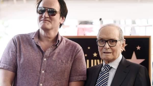 Quentin Tarantino, Ennio Morricone, Harvey Weinstein.