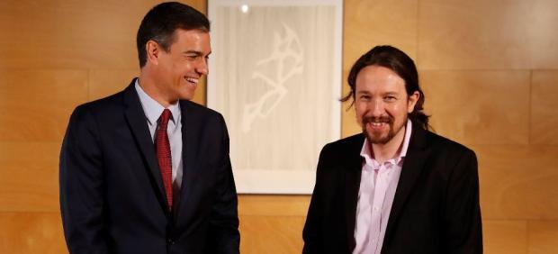 Pedro Sánchez y Pablo Iglesias, en la reunión de este martes