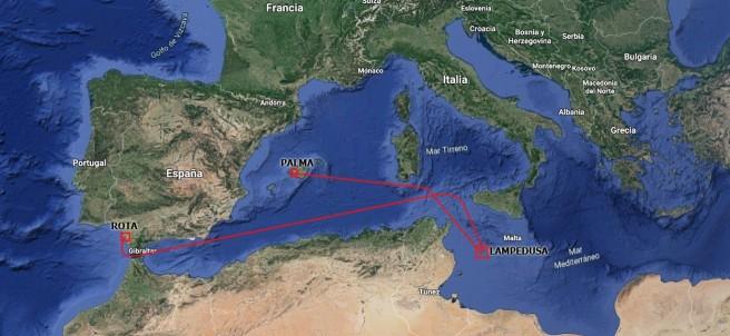 Mapa ruta del buque Audaz