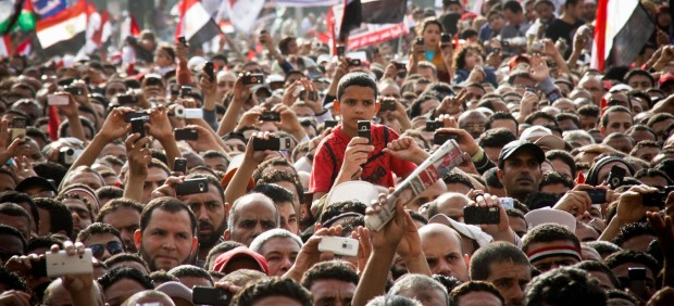 Protesting People during a speech on Tahrir Square
