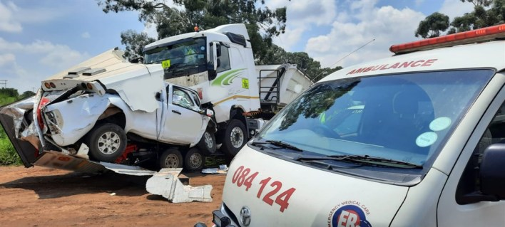 The man died when the bakkie he was driving was involved in a head-on collision with a truck on the R42 in Delmas, according to a statement from ER24.