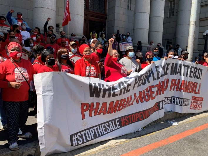 Reclaim the City members outside the western cape high court.