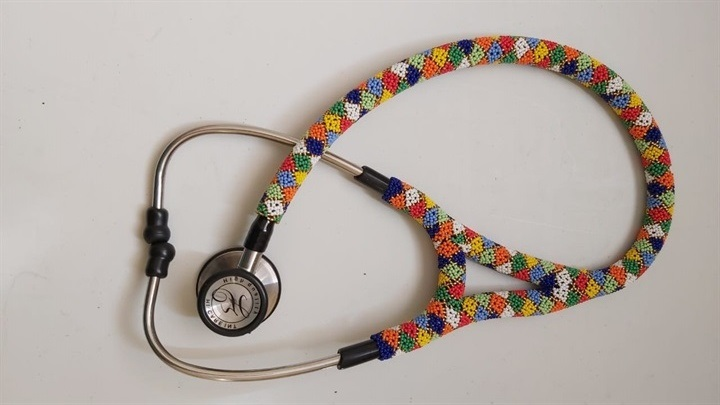A beaded stethoscope graduation gift for the country's new doctors.
