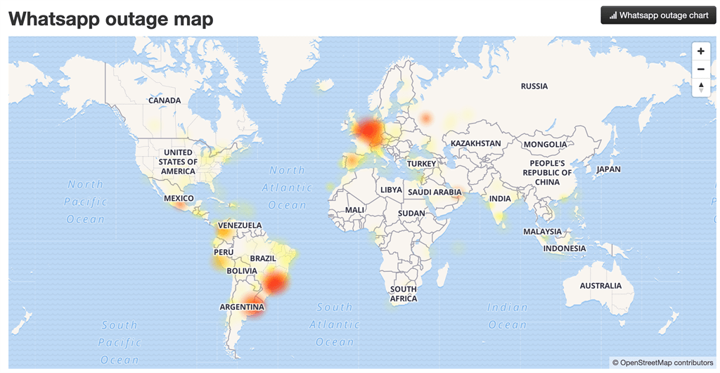 WhatsApp outages reported across the world at 17:0