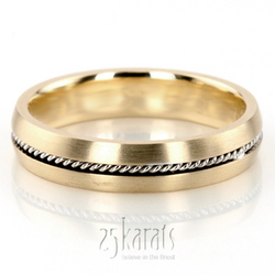 Braided Two Color Handcrafted Wedding Band HM034 14K Gold