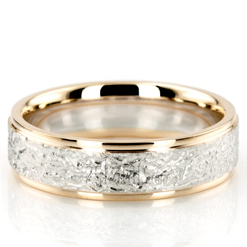 Rough Two Tone Basic Designer Wedding Band BA100213