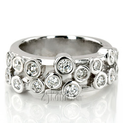 Round Cut Bezel Set Diamond Wedding Band 056 Cttw