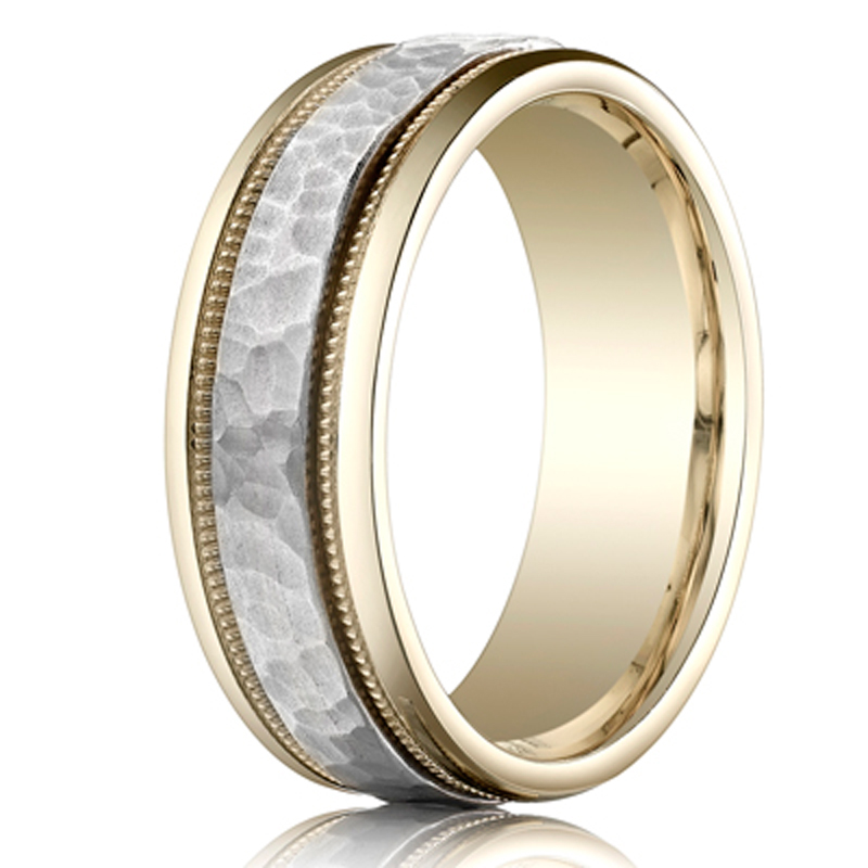 Benchmark Two Toned Hammered Carved Design Band