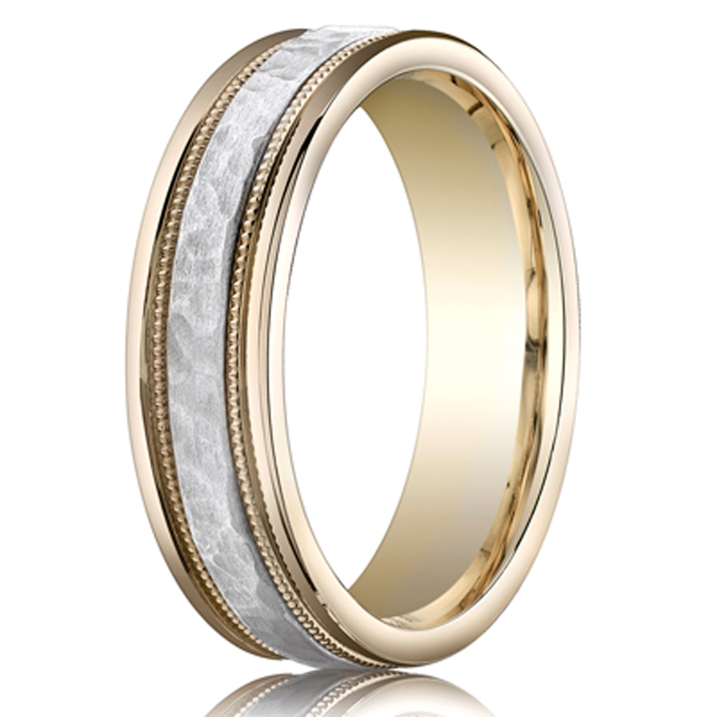 Benchmark Two Toned 6mm Hammered Carved Design Band