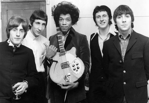 Jimi Hendrix surrounded by band members of The Who; Roger Daltrey, Pete Townshend, Jimi Hendrix, John Entwistle and Keith Moon - Pete Townsend Retrospective