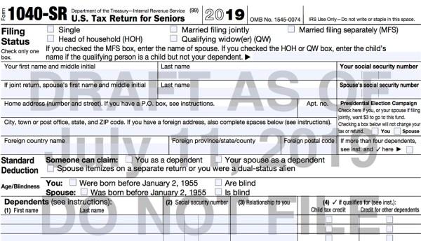 IRS Unveils New 1040-SR Tax Form