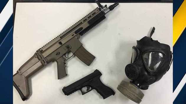 Image of replica guns and gas mask Los Angeles County Sheriffs Department said film students were carrying on Sunday, Nov. 29, 2015.