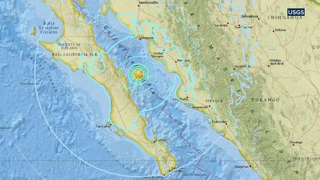 This map from the U.S. Geological Survey indicates the location of an earthquake that struck around 45 miles north-northeast of Loreto, Mexico, on Friday, Jan. 19, 2018.