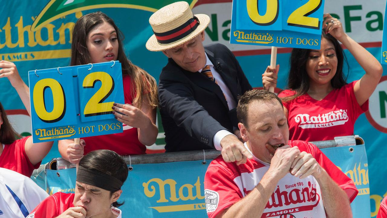 Image result for Joey Chestnut Breaks World Record at Nathan's Hot Dog Eating Contest