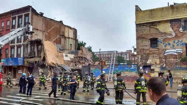 Multi-story building collapses on Fulton Street in Bedford Stuyvesant section of Brooklyn
