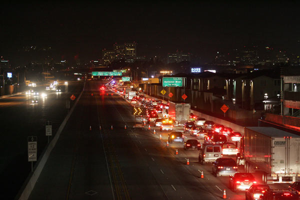 Traffic is backed up on the northbound of the 405 Freeway near the 10 Freeway after it closed for construction at midnight on July 16, 2011.
