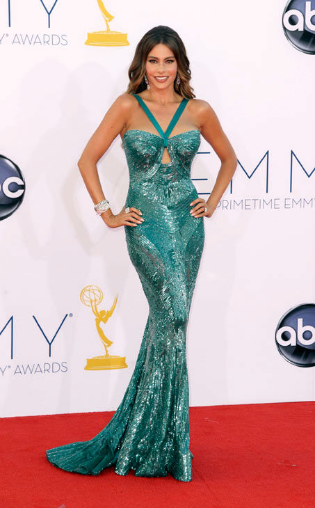 Sofia Vergara arrives at the 64th Primetime Emmy Awards at the Nokia Theatre on Sunday, Sept. 23, 2012, in Los Angeles.