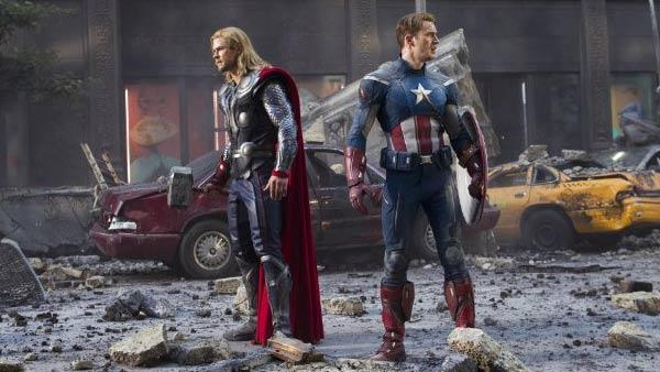 Chris Hemsworth and Chris Evans appear in a still from the 2012 movie The Avengers. - Provided courtesy of Marvel Studios / Zade Rosenthal