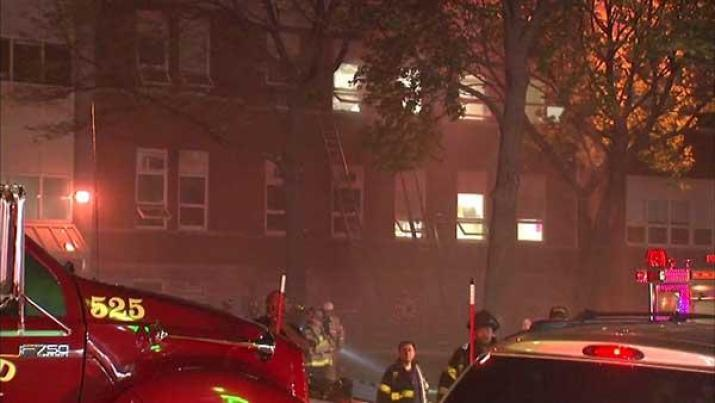 Emergency crews on the scene of a fire Saturday night at Proviso East High School.
