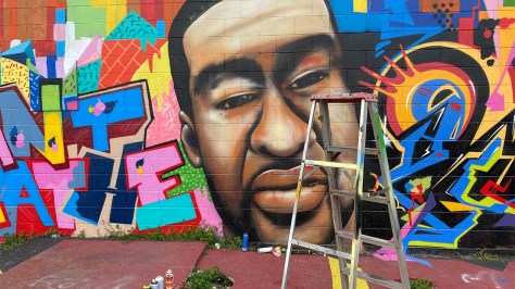 George Floyd mural in downtown Houston vandalized with racial slur