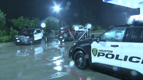 HPD patrol vehicle involved in crash on the North Freeway